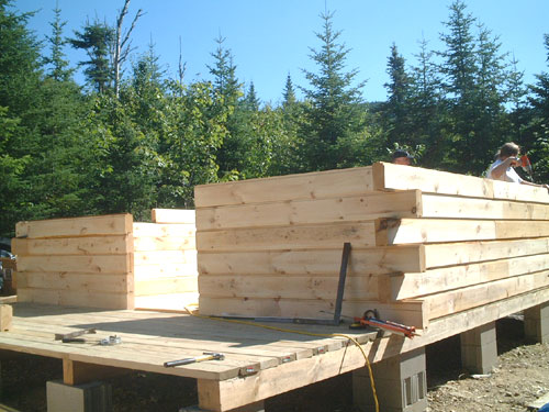 Log cabin construction in maine project pictures for Maine home building packages